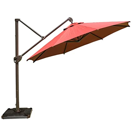 Abba Patio Offset Patio Umbrella 11 Feet Hanging Cantilever Umbrella With  Cross Base And Umbrella