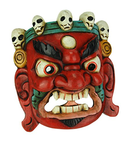 Nepalese Lord Mahakala Tibetan Buddhism Hand Crafted Wooden Mask Wall Decor