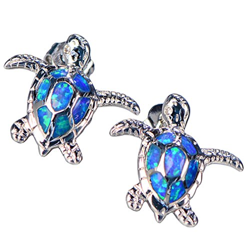 Health and Longevity Sea Turtle Birthstone Jewelry Sterling Silver Created Blue Opal Sea Turtle Earring Pendant Necklace Length 18-20 inch (Earrings)