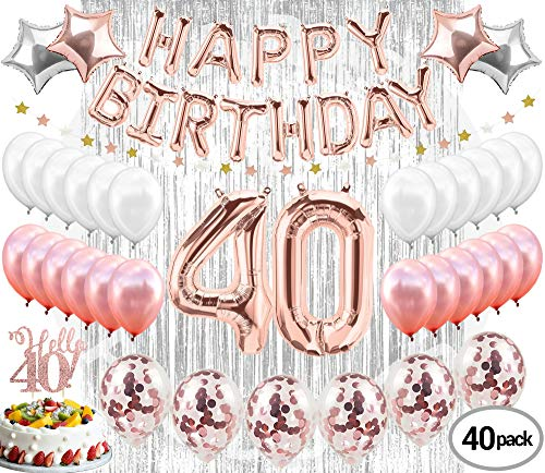 40th Birthday Decorations Party Supplies 40th Birthday balloons| Rose gold Confetti Balloons| Hello 40 Cake Topper Silver| Metallic silver curtain for Photo Booth Props| Forty Birthday Decorations -