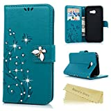 A5 2017 Case , A5 Case (2017 Model) - Mavis's Diary [Bling Vine Butterfly Embossed] Book Wallet PU Leather Flip Cover with Glitter Gems Diamonds Silicone Back Holder Case Magnetic Closure Card Slots & Stand & Wrist Strap for Samsung Galaxy A5 2017 - Turquoise (Not for 2015/2016 Model)