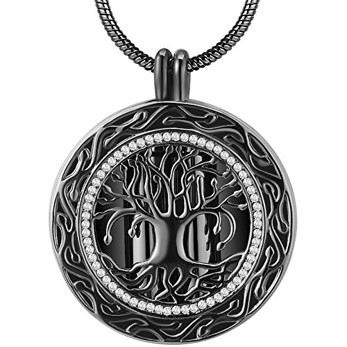 Father's Day Memorial Gifts- 'Always in My Heart' Dual Vial Black Urn Locket Pendant Necklace - 'Tree of Life' Cremation Jewelry for Ashes - Keepsake for Sister Grandma Aunt Wife - Keepsake Locket