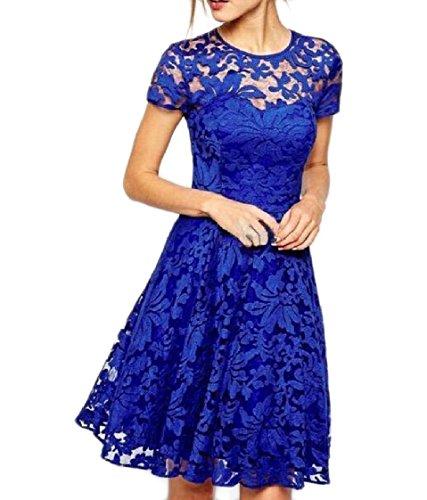 Coolred-femmes Taille Plus Solide De Couleur À Manches Courtes En Dentelle Stiching Robe Swing Bleu