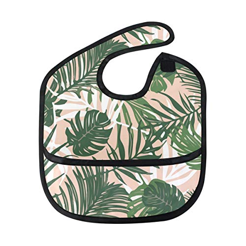Tropical Palm Leaves Pink Blush Baby Bibs Waterproof,Washable,Baby Teething Bib 6-24 Months ()
