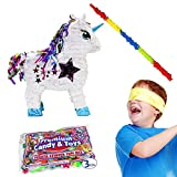Pinatas White Unicorn Kit Including, 3 Lbs. Filler, Buster Stick and Bandana