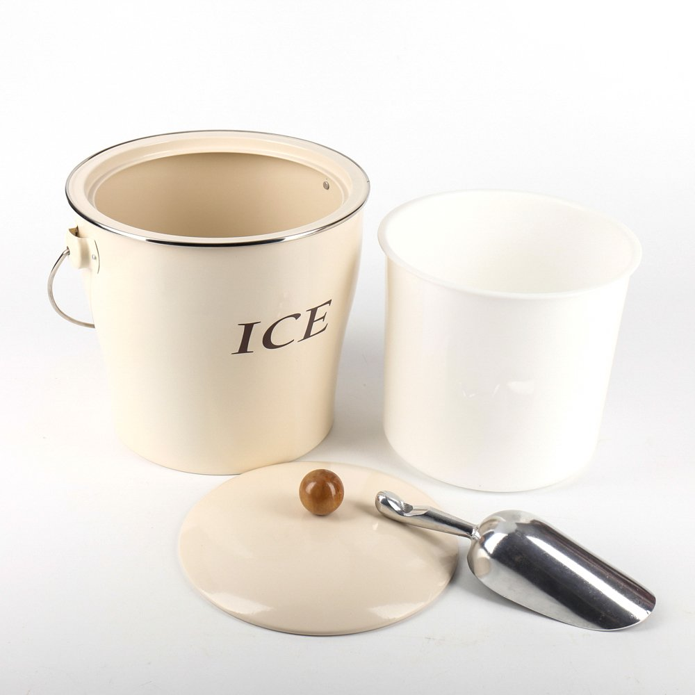 Home by Jackie Inc T686 Cream White 4L Metal Double Walled Ice Bucke Set/Home Kitchen Gifts With Lid/wooden Handle And Scoop by Home by Jackie Inc (Image #4)
