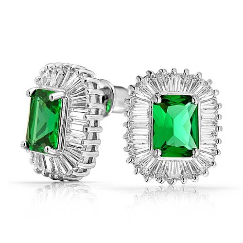 Deco Style Green Rectangle CZ Baguette Halo Simulated Emerald Cut Cubic Zirconia Stud Earrings Silver Plated Brass