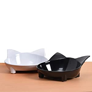 Lorde Cat Bowl, Shallow Cat Food Bowls,Wide Cat Dish,Non Slip Cat Feeding Bowls,Cat Food Bowl for Relief of Whisker Fatigue Pet Food & Water Bowls Set of 2