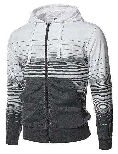 Style by William Casual Stripe Zip Up Kangaroo Hoodie Jacket