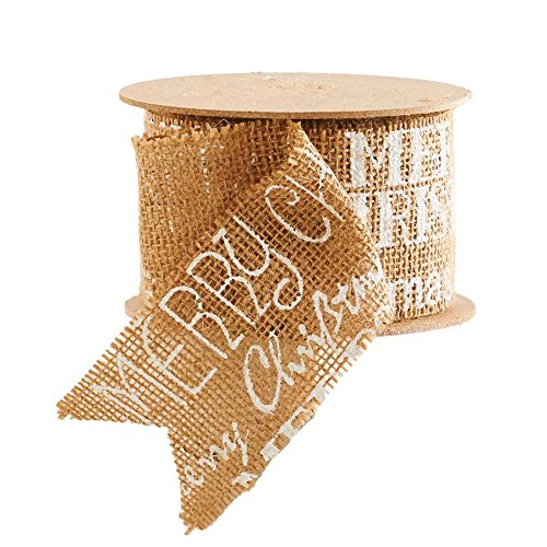 ''Merry Christmas'' Burlap Ribbon (White, 2.5'')