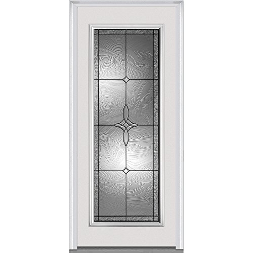 National Door Company ZA21432R Full Lite Lenora Decorative Glass Steel, Primed 36