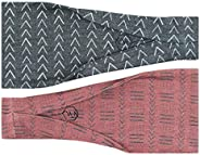 Maven Thread Women's No-Slip Sweat-Wicking Headband for Exercise and Yoga, 2-Pack (Mudcl