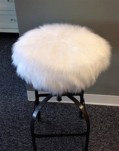 Handmade Faux Fur - Faux Fur Round bar stool cover, chic cushion in white or black fur with drawstring, round cover 12