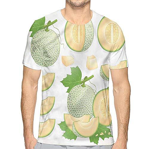 Mens t Shirt Sweet,Summer Fruit Fresh Ripe Melon HD Print t Shirt XXL
