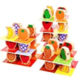 Genius Art Fruit Piles Tower Baby Wood Toys Educational, 60 Pcs