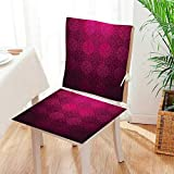 Mikihome Chair Pads 2 Piece Set Ornamental Dated Feminine Rectangular Forms Background Damask Past Classic Desig Bistro Chair Cushion Mat:W17 x H17/Backrest:W17 x H36