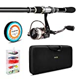PLUSINNO Telescopic Fishing Rod and Reel Combos FULL Kit, Spinning Fishing Gear Organizer Pole Sets with Line Lures Hooks Reel and Fishing Carrier Bag Case Accessories PLUSINNO Rods And Reels