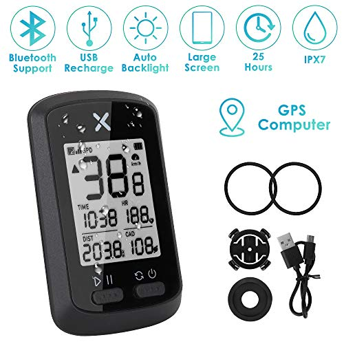 """WOTOW GPS Bike Computer, Wireless Cycling Speedometer Waterproof Bicycle Odometer Bluetooth ANT+ Sensor Support USB Rechargeable 1.8"""" LCD Auto Wake-up Backlight Motion Sensor for Road MTB Riding (b)"""