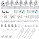 48 Pcs Baby Proofing Cabinet Locks Child Safety- 8 Magnetic Cabinet Locks+2 Keys+4 Invisible Locks, 16 Clear Corner Protectors, 10 Outlet Plugs, 6 Child Safety Locks, No Drill Required