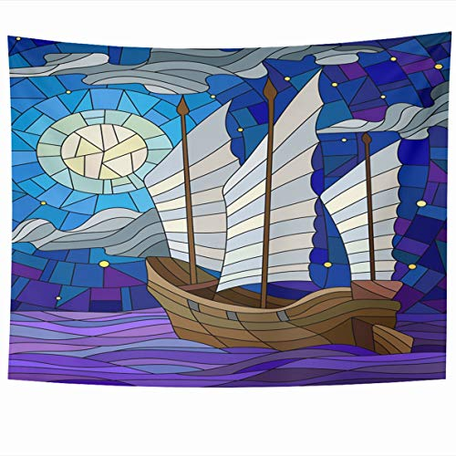 Ahawoso Tapestries 60 x 50 Inches Dinghy Blue Glass Eastern Ship White Sails Sky Boat Sun Ocean Gray Stained Window Moon Batik Design Home Decor Tapestry Wall Hanging for Living Room Bedroom Dorm