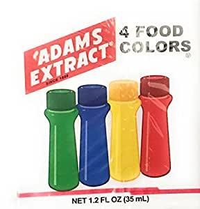 Adams Extract 4 Food Colors ~ Food Coloring ~ Green, Blue, Yellow & Red