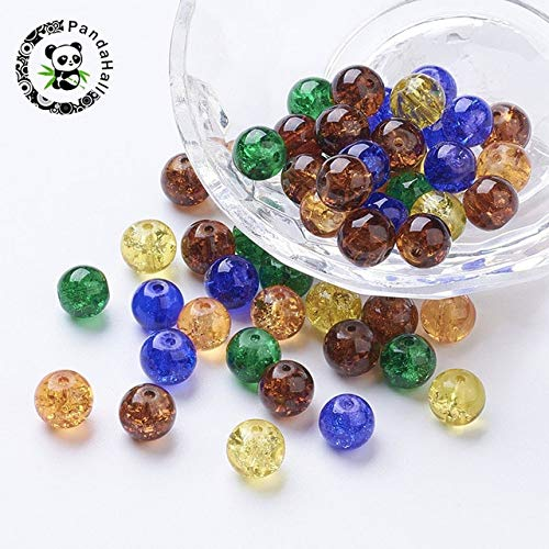 Calvas 100pcs Mixed Color Crackle Glass Beads 8mm Round Beads for Jewelry Making Bracelets Necklaces Earrings - (Color: Halloween Mix) -