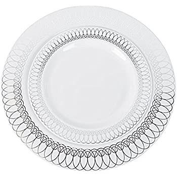 60-Pack of Luxury Disposable Plastic Plates for Upscale Parties- 30x10.25\   sc 1 st  Amazon.com & Amazon.com: 60-Pack of Luxury Disposable Plastic Plates for Upscale ...