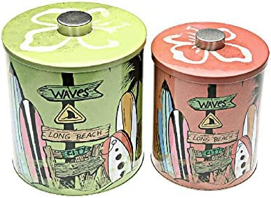 Set de 2 cajas metálicas, nuevos, redonda 20 cm, diseño de SURF: Amazon.es: Hogar