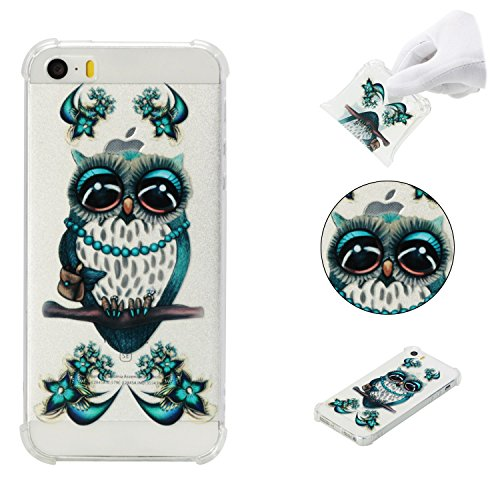 iPhone 5SE Case,iPhone 5S Case,AMYM Amusing Whimsical Painted Design Transparent Shockproof TPU Soft Case Rubber Silicone Cover for iPhone 5SE/5S/5C/5 (Grey Owl)