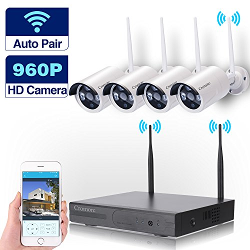 Wireless Security Camera System WIFI NVR Kit CCTV 4CH 1080P NVR 4pcs 960P Indoor Outdoor Bullet IP Cameras P2P IR Night Vision Waterproof Plug and Play without HDD
