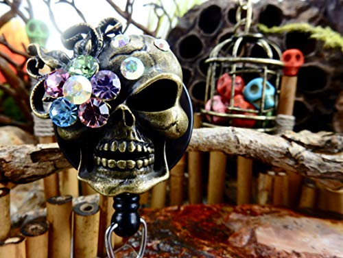 Skull Badge Holder Halloween ID Reel Sugar Skull Retractable Clip Goth Gothic Rhinestone Skeleton Freaky Creepy Pretty Spooky Day of the Dead XRAY Gift for Her Bling Crystal Decorative Nurse NP RN 141