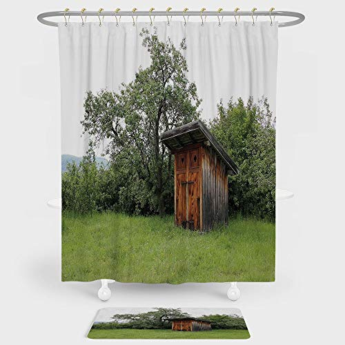 IPrint Outhouse Shower Curtain Floor Mat Combination Set Wooden Little Hut Barn Shed Cottage In Nature