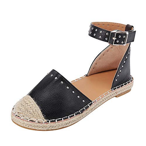 JJLIKER Women Fashion Studs Flat Sandals Closed Toe Ankle Buckle Strap Shoes Classic Comfort Espadrille Loafers Black ()