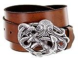 anchor buckle belt - Pirate Punk Octopus Kraken Boat Anchor Buckle Leather Belt for Men (Tan, 38)