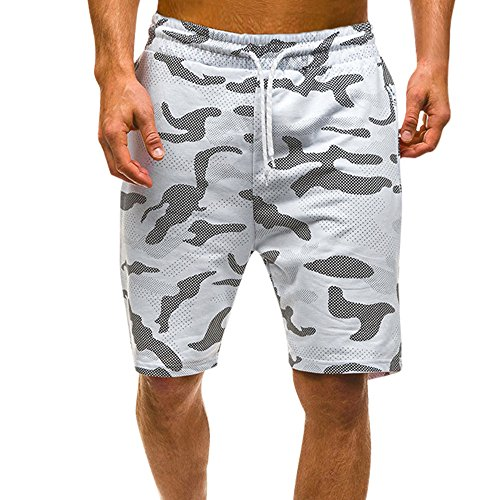 WENSY Men's Summer Breathable Stretch Elastic Waist Casual Camouflage Printed Goods Shorts Sports Pants Beach Pants(White,L) Acetate Flat Front Pants