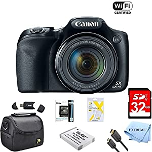 Canon Powershot SX530 HS 16MP Wi-Fi Super-Zoom Digital Camera 50x Optical Zoom Ultimate Bundle Includes Deluxe Camera Bag, 32GB Memory Cards, Extra Battery, Tripod, Card Reader, HDMI Cable & More by Extreme Electronics