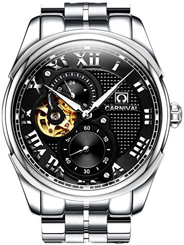 PASOY Carnival Men's Automatic Watch Sapphire Glass Solid Stainless Stell 24 Hours Black Analog Watches by PASOY