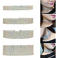 Rhinestone Choker 3, 5, 8,12 Row by Hunputa – Women's Crystal Necklace Diamond Collar with 4 Inch Extension (4)