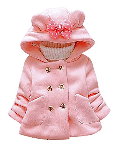 Pupik, Girls Warm Double Breasted Minnie Mouse Buttons Rabbit Ear Hooded Coat, Pink 4T (Cheap Minnie Mouse Ears)