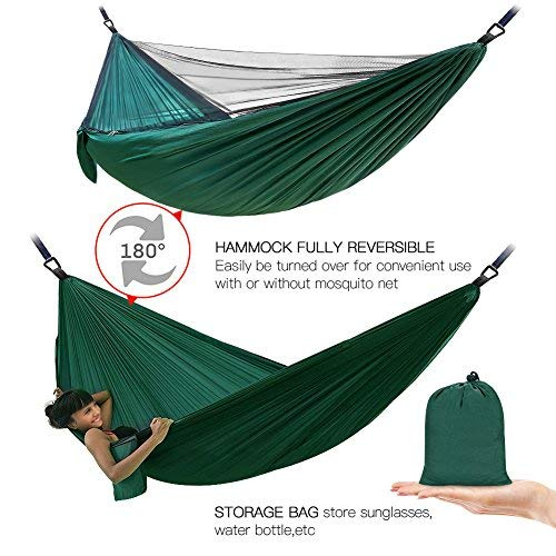 Double Single Camping Hammock,Portable Hammock with Net and Tree Straps,Lightweight Parachute Nylon Hammock for Backpacking Travel Beach Yard Outdoor Indoor Dark Green