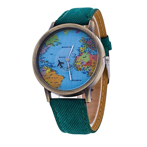 Lucoo Women's Global Travel By Plane World Map Dress Watch Denim Faux Leather Wrist Watches (Green) Faux Leather Bangle Watch