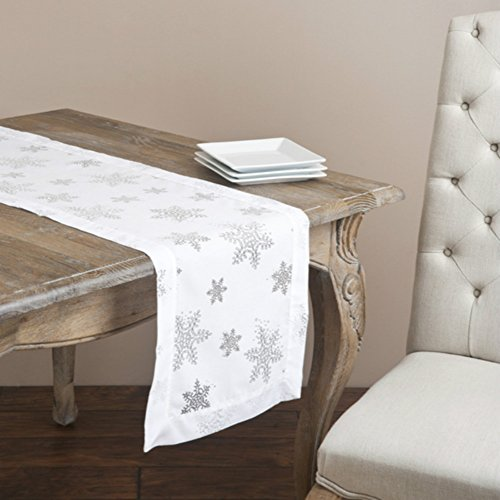 Fennco Styles Burnout Snowflake Holiday Table Runner, 16