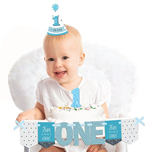 Big Dot of Happiness 1st Birthday Boy - Fun to Be One 1st Birthday - First Birthday Boy Smash Cake Decorating Kit - High Chair Decorations