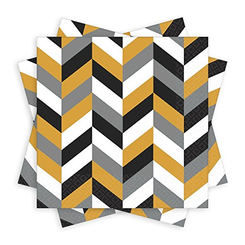 Amscan Disposable Party Modern Metallic Luncheon Napkins Tableware, Paper , 6'' x 6'', Pack of 8