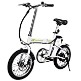 "Ancheer 16"" Folding Electric Bike With 36V 6Ah Lithium Battery, 250W Powerful Brushless Gear Motor (White)"