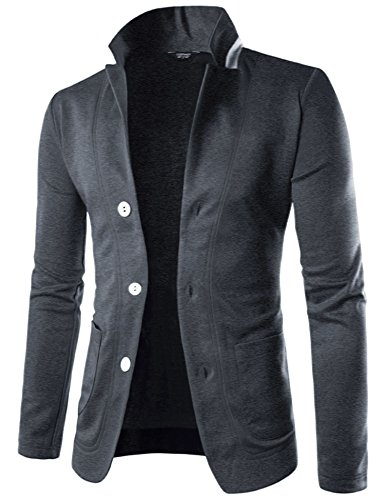 - COOFANDY Mens Casual Slim Fit Blazer 3 Button Suit Sport Coat Lightweight Jacket (Large, Flower Grey)