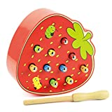 Novobey Wooden Magnetic Catch Worm Game Early Educational Toys for Kids Including 1 Pc Magnetic Pole and 10 Pcs Worms (strawberry)