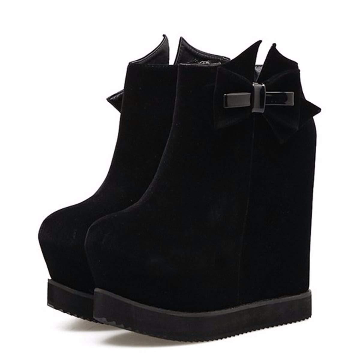 HBDLH Damenschuhe Kurze Stiefel High - 14 cm cm cm Hohe Rein Schwarzen Wildleder Dicke Sohle High - Heel Steigung Ferse Ma Dingxue. a31465
