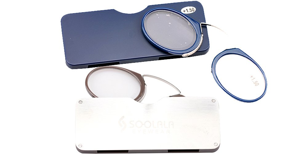 SOOLALA Go Everywhere SOS Pince Nez Style Nose Resting Pinching Reading Glasses (2 Pairs/Brown+Blue, 2.5)