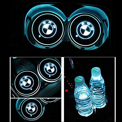 Lampada Decorativa per Auto 7 Colori cangianti Tappetino di Ricarica USB GUANGGU Guangu Tappetino per portabicchieri con Logo a LED per Auto 2 Pezzi Tappetino per Tazza a LED